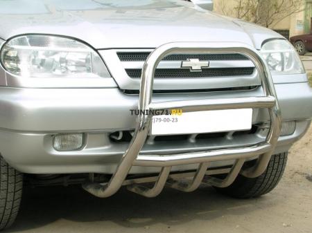 Chevrolet Niva 2002-2008 г.в.-Дуга передняя высокая d-53 с защитой картера d-43